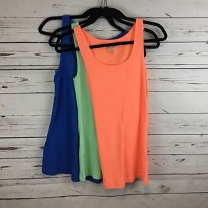 Old Navy Orange Mint and Blue Ribbed Tank Tops